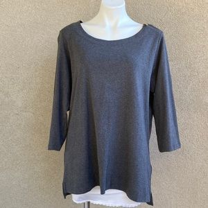 Plus Size Ash Gray 3/4 Sleeves Zipper Neck Blouse